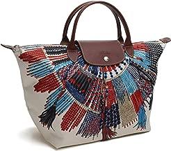 LONGCHAMP Collier Massai Native Neo Tribal Creme Multi Feather Medium Bag New