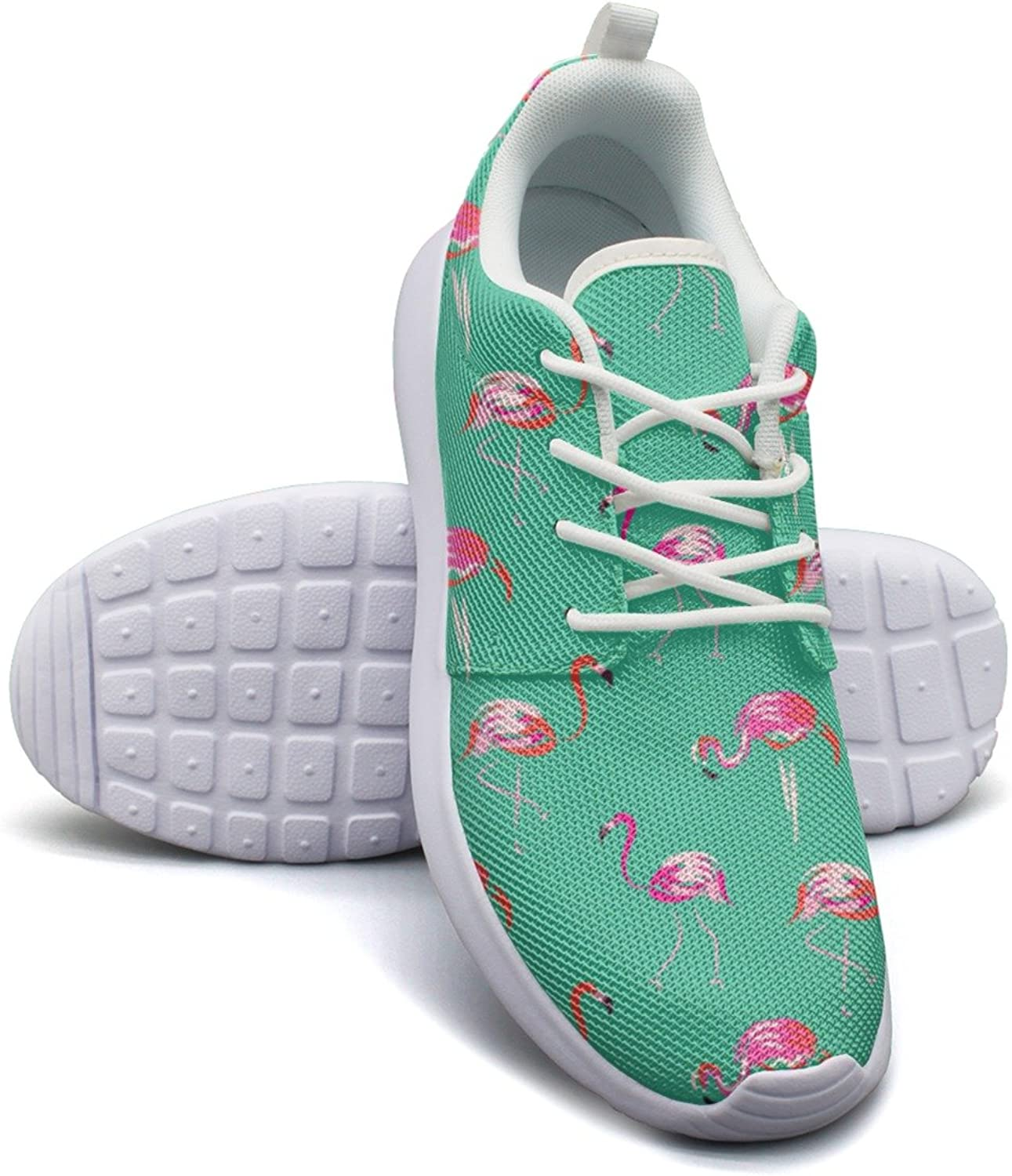 Eoyles gy Hand Drawn Pink Flamingo Bird Mint Beautiful Women Slip Resistant Lightweight Running Sports shoes