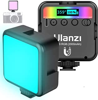 Ulanzi VL49 RGB LED Video Light w 3 Cold Shoes,Mini Rechargeable 360° Full Color LED Camera Light,Support Magnetic Attract...