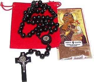 Holy Land Market St. Benedict Catholic Wood Rosary Beads from Bethlehem - The Holy Land - Black