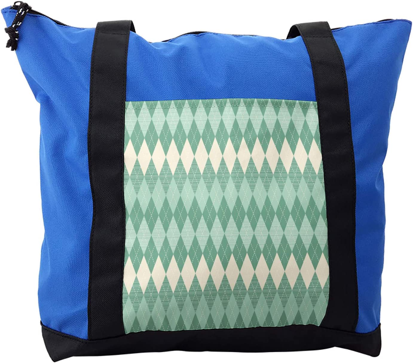 Ambesonne Aqua Shoulder Bag, Triangle Shapes Abstract, Durable with Zipper
