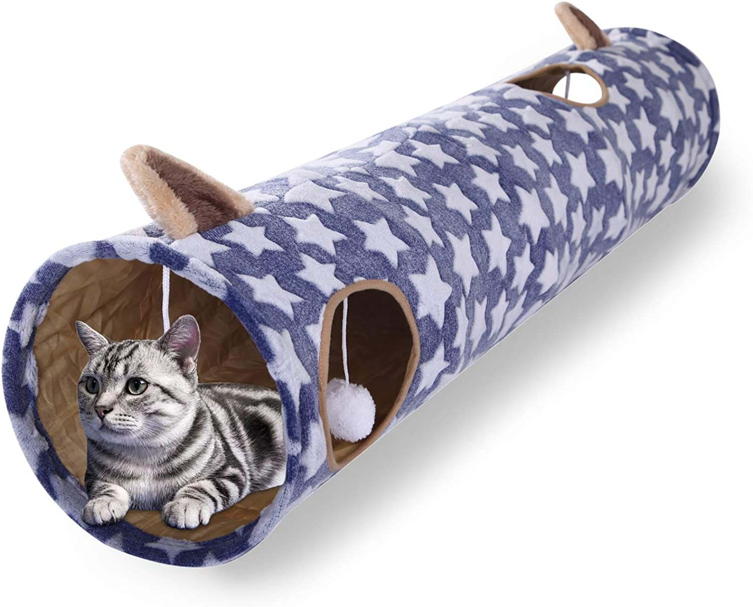 Luckitty Large Cat Toys Collapsible Tunnel Tube with Plush Balls for Rabbits, Kittens, Ferrets,Puppy and Dogs,Navy,bluee