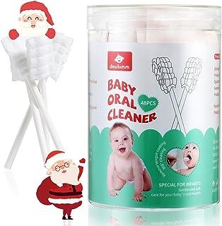 48PCS Baby Toothbrush, Newborn Baby Tongue Cleaner Toothbrush Clean Baby Gums Disposable Tongue Cleaner Soft Gauze Toothbr...