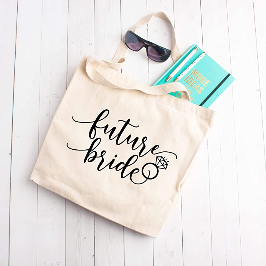 Future Bride Large Tote Beach Bag - Cute Sarcastic Funny Bag for Women - Unique Fun Gifts for Mom, Sister, Best Friend, Her under $30 - Handmade Printed in the USA Bags with Quotes