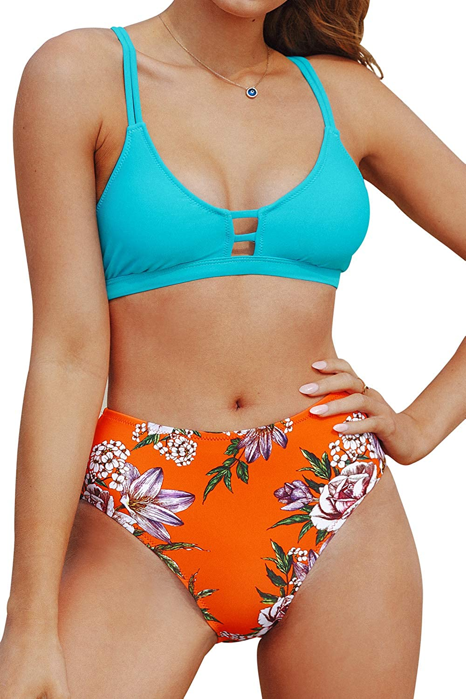 CUPSHE Women's Floral Mid Rise Criss Cross Bikini Swimsuit Sets