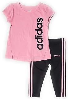 adidas Baby Girls 2pc Athletic Short Sleeve Shirt and Leggings Set