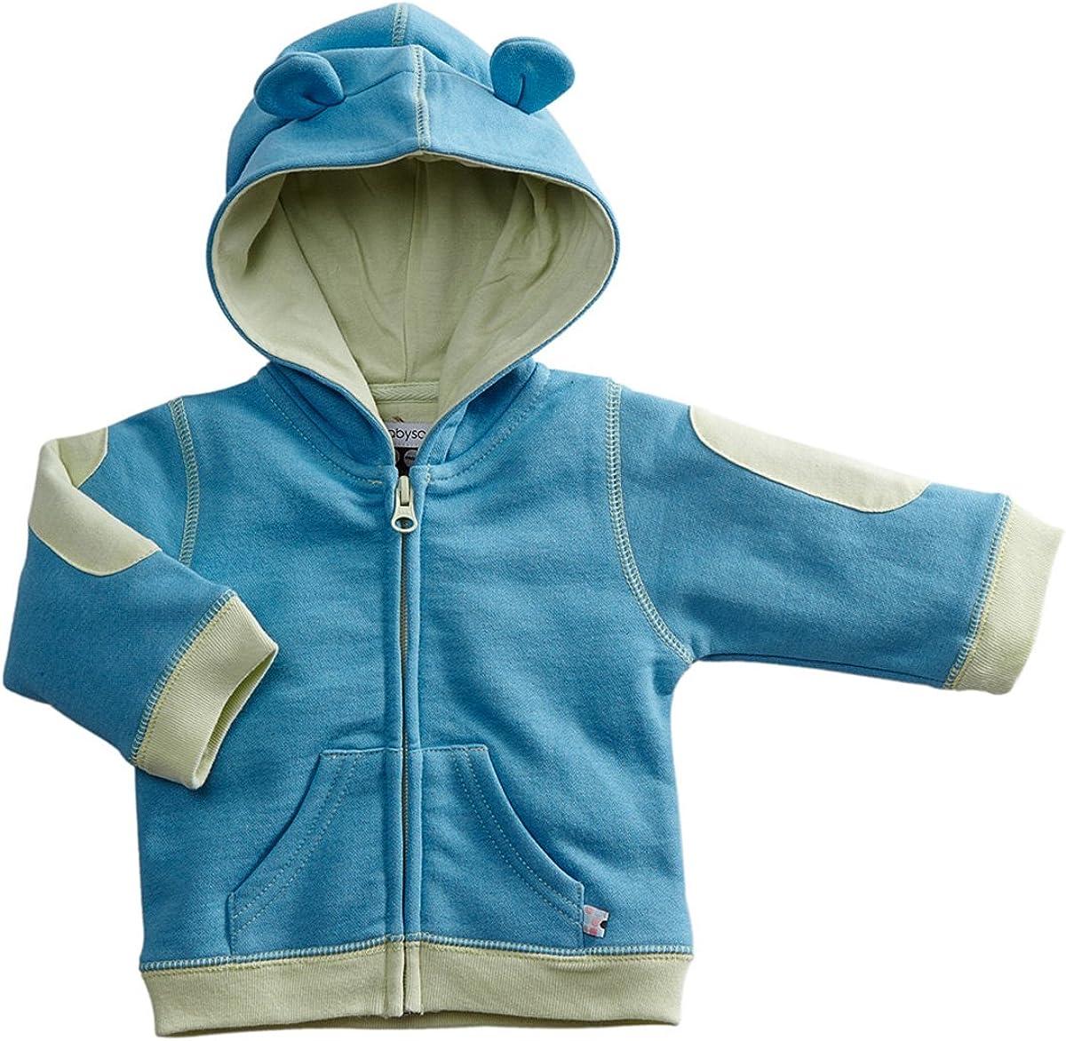 Babysoy Bunny Ears Fleece Hoodie Jacket (6-12 Months, Ocean)