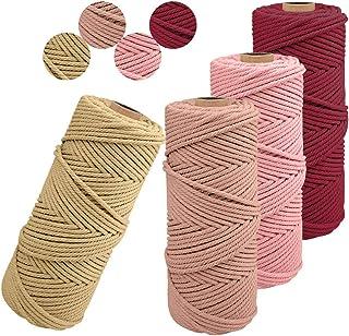 JeogYong Lot de 4 Corde Macramé 2mm x 100m Ficelle Naturelle Fil Macrame Coton Cordon Bricolage Cordelettes pour Tentures ...