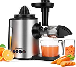 Juicer Machines 2 in 1 Slow Masticating Citrus Juicers Antioxidant Mute and Reverse Function Cold Press Juice Extractor wi...