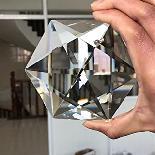 WHHHuan 1pc 10 0MM Star de David Tantrism Hexagram Cristal Judaïsme Pendentif Prism LUSTELIER SUNCATCHER YAHADUT Israel
