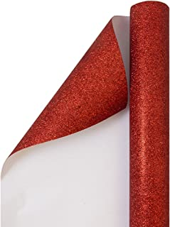 JAM PAPER Gift Wrap - Glitter Wrapping Paper - 25 Sq Ft - Red Glitter - Roll Sold Individually