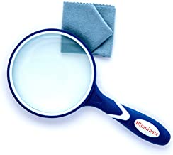 Illuminate Magnifying Glass 3X Reading Magnifier (Blue) for Seniors & Kids, 100MM Large Magnifying Lens with Non-Slip Soft Rubber Handle for Book Newspaper, Inspection, Insect and Hobby, Observation,