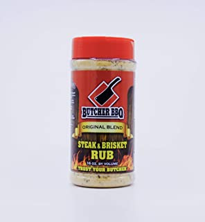 Butcher BBQ Steak and Brisket Rub - Barbecue Rub - 16oz. Easy to Use Shaker Bottle on Your Favorite Product. Beef, Pork, Chicken, Wild Game, and Veggies. This Is MSG Free and Gluten Free.