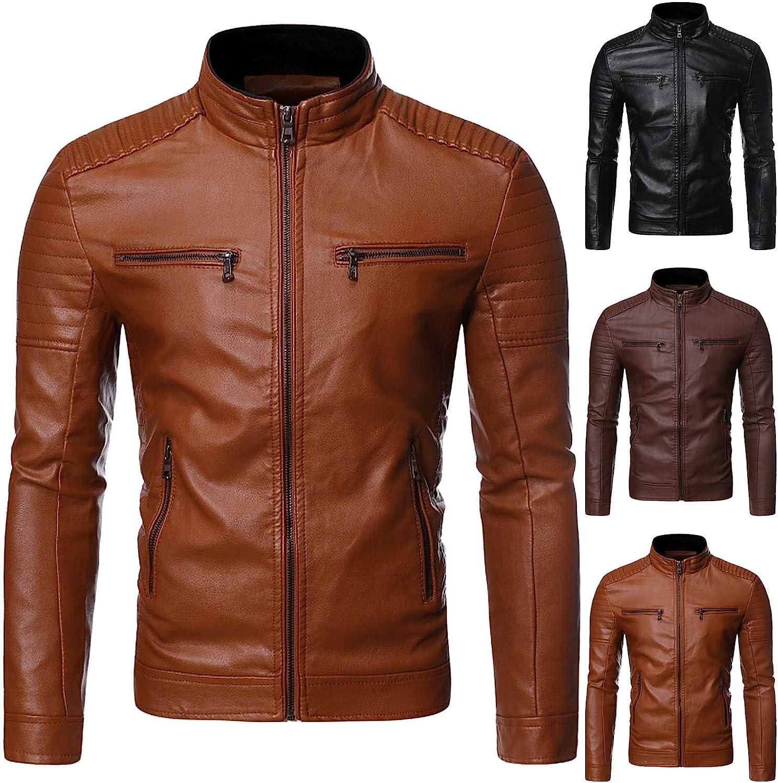 Men Leather Jackets,Vintage Classic Leather Zip Up Biker Bomber Jacket V1725