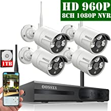 OOSSXX 4-CH 1080P HD Wireless Security Camera System,4 pcs 720P 1.0 Megapixel Wireless Weatherproof Bullet IP Cameras,Plug and Play,70FT Night Vision,P2P,App, HDMI Cord&1TB HDD Pre-Install