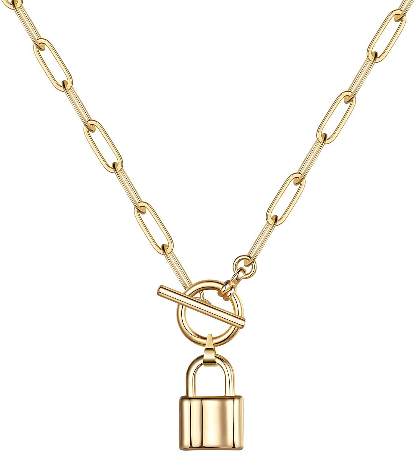 Turandoss Gold Necklaces for Women - 14K Gold Plated Lock Evil Eye Medallion Vintage Coin Necklace Bee Sun Moon Shell Gold Chain Necklace Layered Paperclip Chain Necklaces for Women Jewelry Gifts