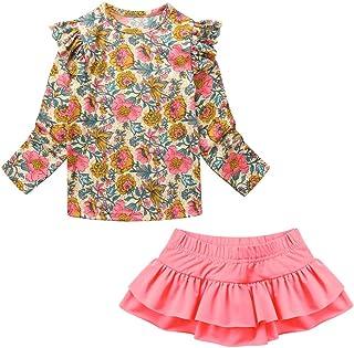Goingkids 3T-7T Toddler Girls Kids Rashguard Set Swimsuit UV Protection Quick Dry (FrillBlossom Set Yellow+Pink, Small / 3T)