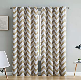 HLC.ME Chevron Print Thermal Insulated Energy Efficient Room Darkening Blackout Window Curtain Grommet Top Panels for Bedroom & Living Room - Set of 2-52