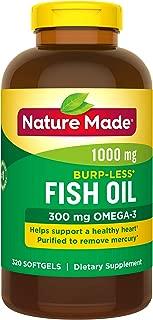 Nature Made Fish Oil 1000mg, Omega 3 300mg, Burp-Less Softgel, 320 Count