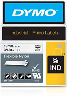 "DYMO Industrial Flexible Nylon Labels | Authentic DYMO Labels, For Labeling Wires, Cables and More  (3/4"", Black on White)"