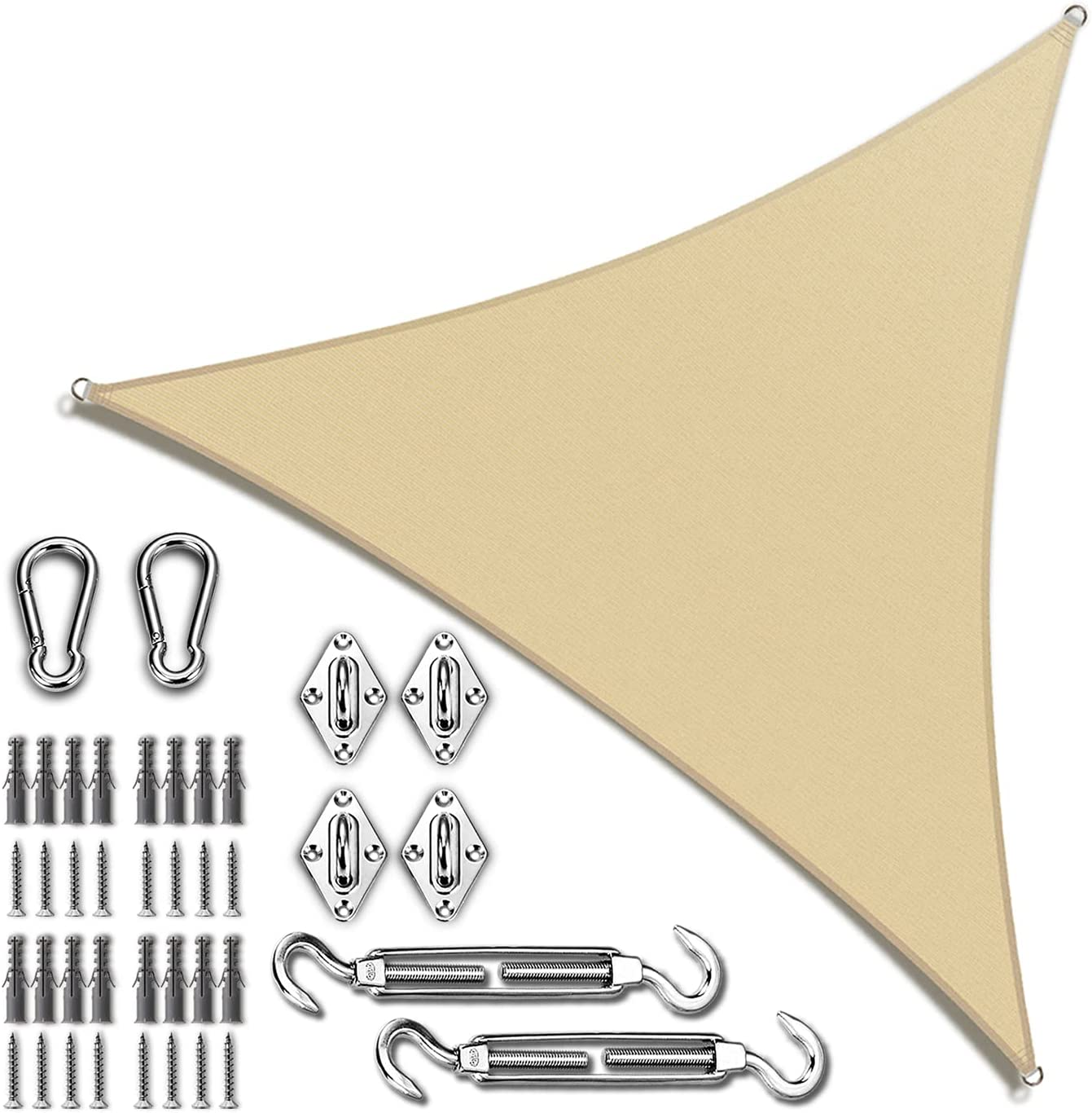 Amgo 10' x Beige Triangle Shade Sail with favorite Sun Regular discount