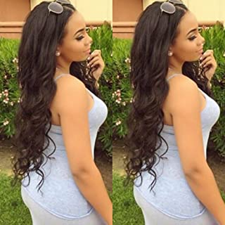 360 Lace Frontal Wig with Baby Hair Body Wave Wavy Glueless 360 Full Lace Wig Pre Plucked Natural Hairline Virgin Human Hair Wigs for Black Women 130% Density 1B Natural Black 22''