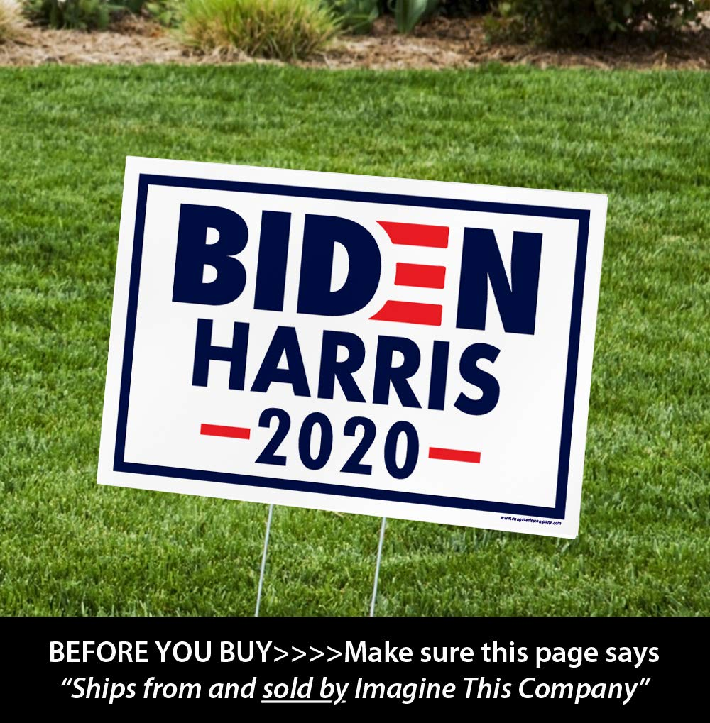 ITC Biden/Harris for President 2020 Yard Signs with H-Frames 12x18 (Harris Logo)
