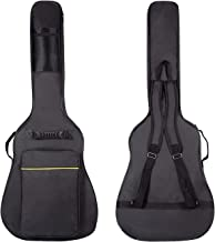 CAHAYA [Upgraded Version] 41 Inch Acoustic Guitar Bag 0.3 Inch Thick Padding Waterproof Dual Adjustable Shoulder Strap Guitar Case Gig Bag with Back Hanger Loop - Black
