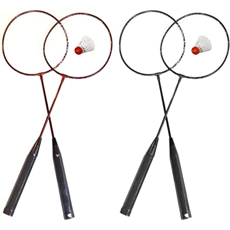 O&W Security - Set da badminton con 2 racchette con volano, ideale per tutta la famiglia, vacanze, giardino, spiaggia, buona qualità