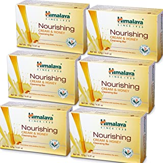 Himalaya Nourishing Cream & Honey Cleansing Bar, Face and Body Soap for Soft Skin, 4.41 oz, 6 Pack