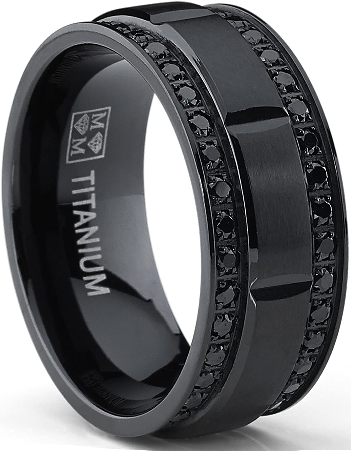 9MM Free Shipping Cheap Bargain Gift Men's Black Max 46% OFF Titanium Wedding Row Band with Ring Double