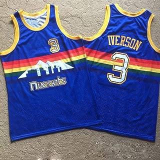 Denver Nuggets Jersey del Equipo de Baloncesto Retro, Nueva Tela # 3 Allen Iverson, Unisex Camiseta sin Mangas, Traje Uniforme de Baloncesto Swingman