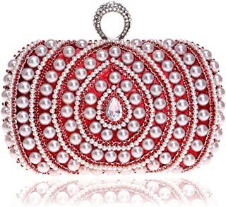 Redland Art Women's Fashion Mini Pearl Beaded Clutch Bag Wristlet Evening Handbag Catching Purse for Wedding Party (Color : Red)