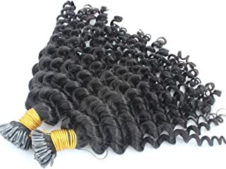 """Remeehi I Tip Human Hair Extension Kinky Curly Stick Brazilian Keratin Hair 1G Prebonded 100S Fusion Hair Pieces Easy Remove(18"""" 1#)"""