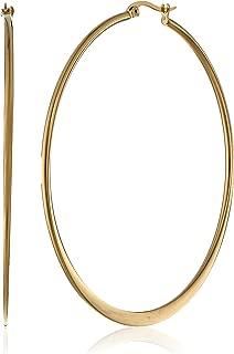 Gold or Rhodium Plated Stainless Steel Flattened Hoop Earrings