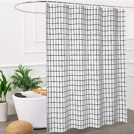 180x200cm Black and White Grid PEVA Shower Curtain Shower Blind Bath Room Decor