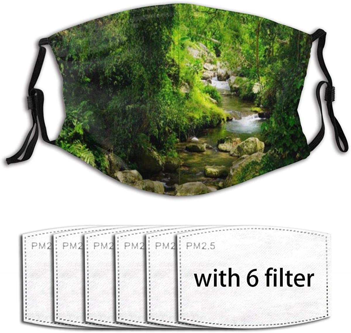 WINCAN Face Cover Jungle Summer Tropical Rain Forest Stream Flowing Mossy Rocks Nature Balaclava Unisex Reusable Windproof Mouth Bandanas Camping Motorcycle Neck Gaiter with 6 Filters for Men Women