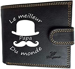 Syl'la Meilleur Papa Petit Portefeuille à Rabat pour Homme Porte Monnaie Noir