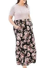 55c7b4c92425 DUNEA Women's Maxi Dress Floral Printed Autumn 3/4 Sleeve Casual Tunic Long Maxi  Dress
