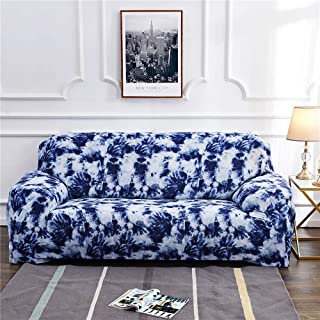 uhmhome High Stretch Sofa Slipcover Ink Painting Pattern Chinese Style Couch Cover for 1/2/3/4 Cushion Couch Elastic Fabric Kids Pets Protector (Blue, 1Seater)