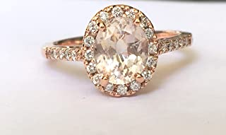 Peach sapphire rose gold engagement ring,Peach Pink Sapphire Ring, Oval Cut Engagement Ring, 14k Rose Gold Engagement ring
