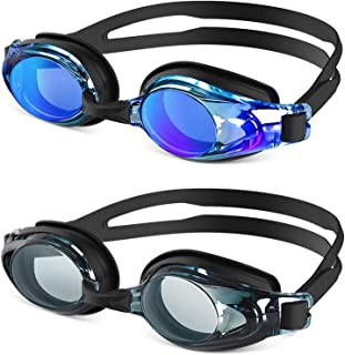 ZIONOR 2 Packs Upgrade G8 Swim Goggles for Men/Women, UV Protection Anti-Fog Leak-Proof Swimming Goggles with Adjustable Strap Wide Vision, Comfortable and Fashionable for Adult and Youth