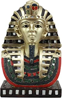 Ebros Ancient Egyptian Pharaoh Mask Of King Tut Statue Golden Tutankhamun Bust Figurine