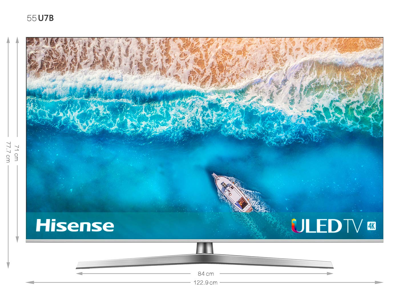 Hisense H55U7B, Smart TV ULED 4K Ultra HD, Dolby Vision HDR, HDR 10+, Audio Dolby Atmos, Ultra Dimming, 802.11ac, Dual-Band (2.4G and 5G) Ethernet RJ-45 HDMI USB Bluetooth, 55