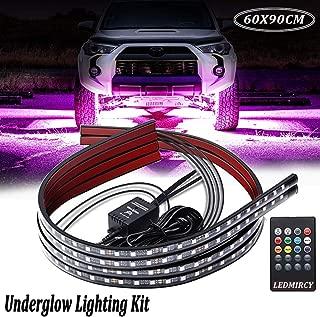 Car Underglow Lights,Led Strip Lights for Cars 12V RGB Neon Strip Lights 5050 SMD Multi Color Atmosphere Decorative Lights Strip Underbody Lighting Kit Sound Active Wireless Remote Control(60-90cm)