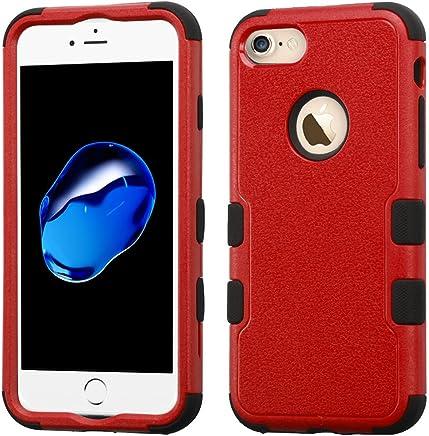Funda Case para iPhone 7 Doble Protector de Uso Rudo Funda Anti Impactos Resistente a Caídas (Rojo con Negro)