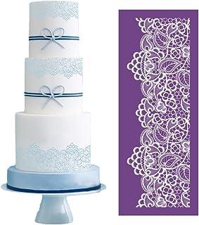 Flower Shape Cake Stencil,Cake Lace Stencil,Fondant Cake Side Brim Border Decoration Mould,Cake Template Mold,Wedding Cake Decorating Tools,Plastic Coffee Stencils,Sugar Sieve,Baking Tool