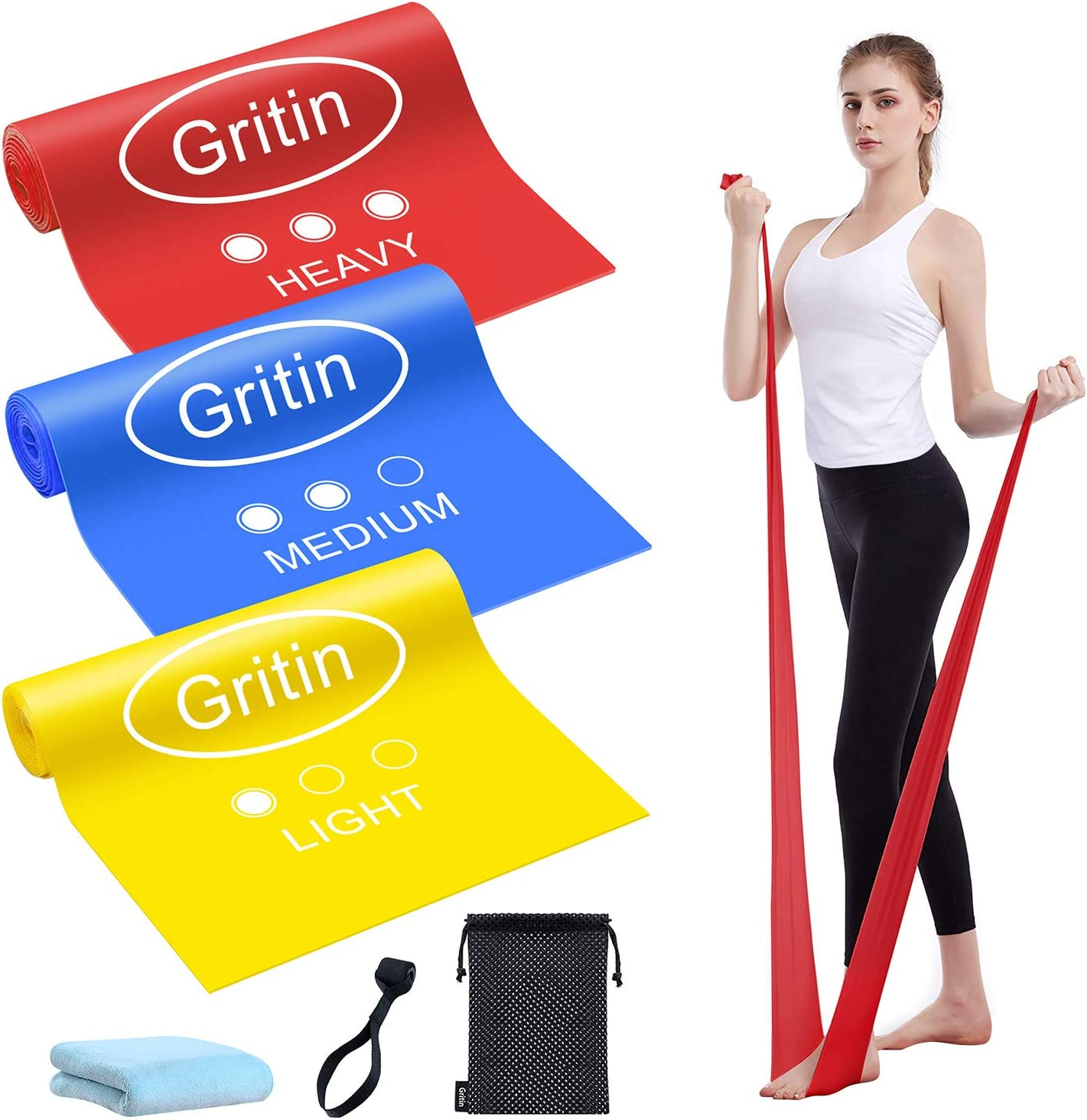 Gritin Sales for sale Resistance Bands Popular product Set 3 Exercise Skin-Friendly of