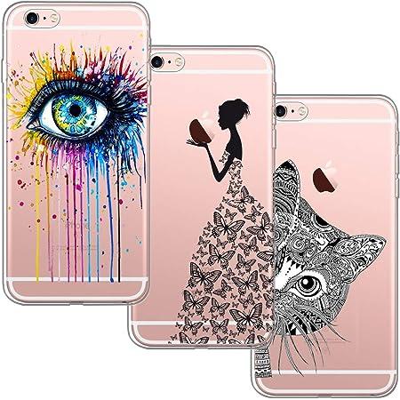 [3 Pack] per iPhone 6 / 6S, con Bordo Anteriore Salvaschermo Cover Custodia Bumper Morbida Crystal Clear HD TPU Silicone Gel Gomma Robusta Solida ...