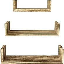 SRIWATANA Floating Shelves Wall Mounted, Solid Wood Wall Shelves, Carbonized Black